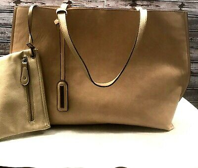 7909eeaee8 Nordstrom Street Level Reversible Faux Leather Tote and Wristlet Tan & Gold  New