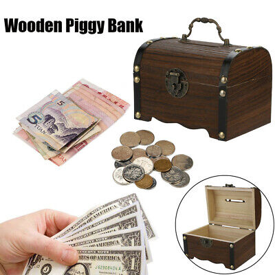 Wooden Piggy Bank Safe Money Box Savings With Lock Wood Carving Handmade Simple