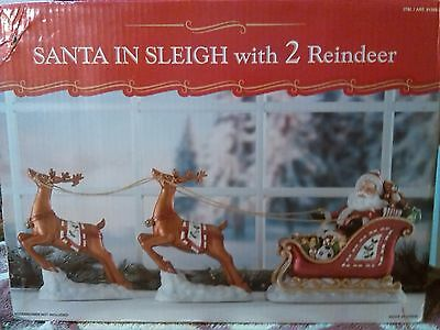 Santa in Sleigh With Two Reindeer Christmas Holiday Decoration