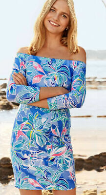 9ef0bd9161cae4 NWT Lilly Pulitzer Laurana Bennet Blue Celestial Seas Off Shoulder Dress M  XL