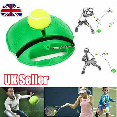 Single Tennis Trainer Training Practice Rebound Ball Back Base Tool 1 Balls OY