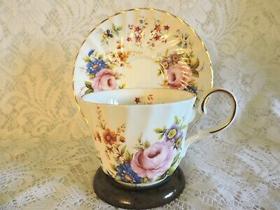 Royal Patrician Cabbage Roses Teacup & Saucer - Bone China England Staffordshire
