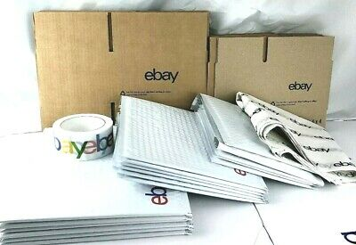 Ebay Branded Shipping Supplies Kit Lot Boxes Padded Envelopes Tape Tissue 37 Pcs