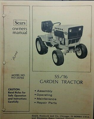 SEARS SUBURBAN SS/16 Lawn Garden Tractor Owners & Parts ... on