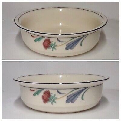 2 Lenox Chinastone POPPIES ON BLUE  Soup / Cereal Bowls - NEAR MINT Condition