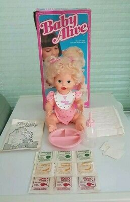 Baby Alive Doll By Kenner 1984 Drink ,Eat Wet With Original Box & Accessories