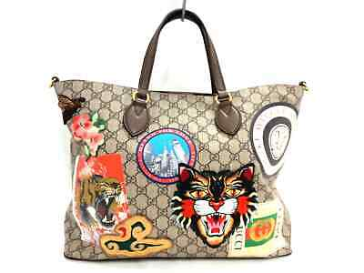 Auth GUCCI Gucci Courrier/GG Supreme 474085 Beige DarkBrown Multi Tote Bag