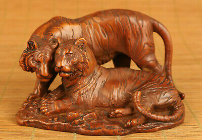 Chinese old boxwood handmade tiger statue netsuke table home decoration gift
