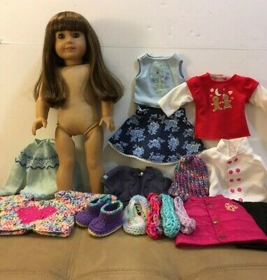 American Girl Doll Light Brown Hair Blue Eyes With Outfits