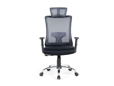 Home and Office Mesh Ergonomic Computer Chair Headrest Grey Noble