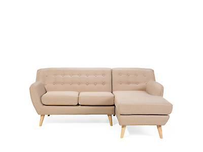 Mid Century Modern 3 Seater Sofa Button Tufted Beige Motala