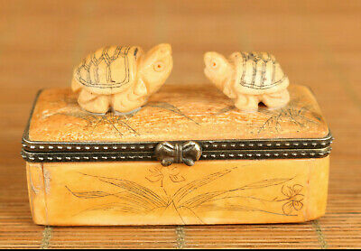 Antiques CHinese old hand carving tortoise statue figue netsuke box noble gift