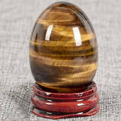 Natural Stone Quartz Tiger Eye Crystal Egg Sphere + Wooden Display Stand AU