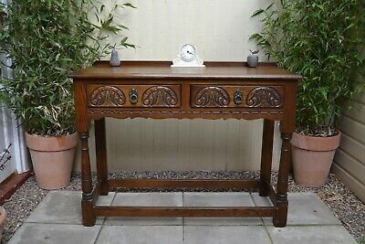 Lovely Old Charm Carved Oak Side Table Console 2 Drawer Tudor Table Quality VGC