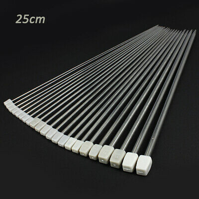 22pc 2mm-8mm Stainless Steel Single Pointed Knitting Needles Sets 25cm Length AU