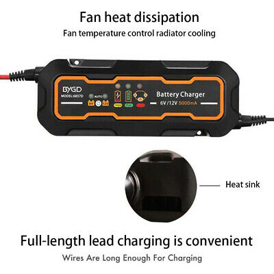 Excelvan Car Trickle RV 8 Step Motorcycle Automatic Smart Battery Charger 12V 5A