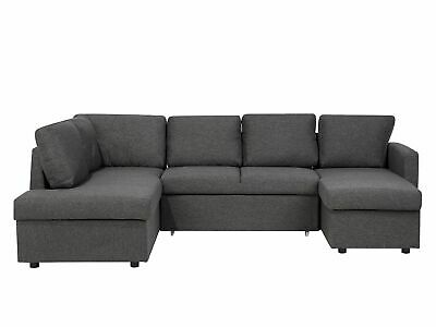 U- Shaped Modern Sofa Bed 5 Seater Storage Fabric Upholstered Dark Grey Karrabo