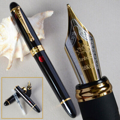 New Jinhao X450 Black with Fireworks Fountain Pen 0.7mm Nib 18KGP Golden Trim AU