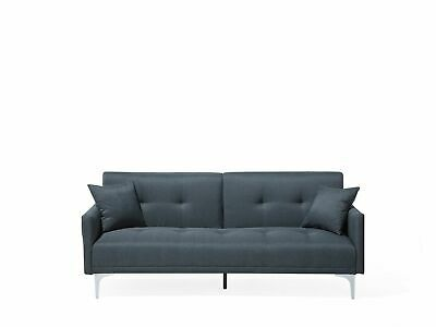 Modern Buttoned Fabric Sofa Bed 3 Seater Blue Polyester Eucalyptus Wood Lucian