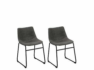 Dining Chairs Set of 2 Fabric Sled Base Armless Kitchen Retro Grey Batavia