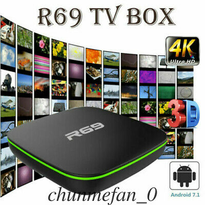 2019 R69 Android 7.1 Smart TV Box 1+8G Quad Core HD 2.4GHz WiFi 4K Media Player