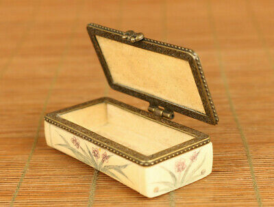 Asian old hand carving tortoise statue figue netsuke table decoration jewel case