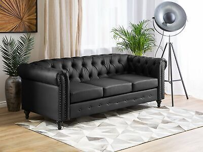 Vintage Faux Leather 3 Seater Sofa Black Buttoned Scroll Arms Chesterfield