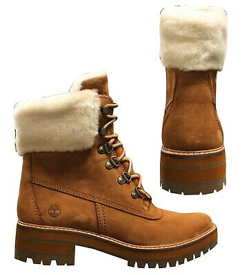 fb868473e8 Timberland Courmayeur Valley Shearling Womens Lace Up Boots Brown A1RP2 T2K