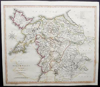 1805 Original Antique LARGE MAP 'NORTH WALES' by John Cary Outline Colour