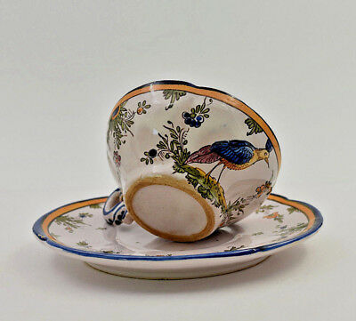 A Angoulême Renoleau Earthenware Cup Saucer Bird French Ceramic End XIX B