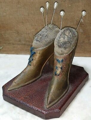 Antique Carved Wood Folk Art Pin Cushion American Sewing Victorian Ladies Shoes