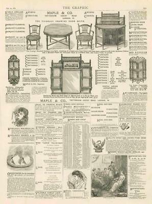 1881 Antique Print ADVERTISING MAPLE CO FURNISHERS HEAL SON DALMAINE PIANO (265