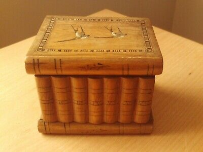 Vintage Sorrento Wooden Jewellery Trinket Box With Secret Compartments With Key.