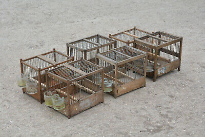vintage wooden bird cages old small wooden cages  x6  - FREE DELIVERY
