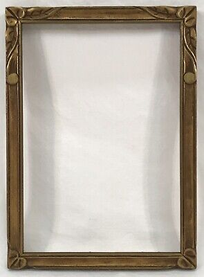 Antique Early 20th C Arts & Crafts Hand Carved Gold Frame 5 x 7 Opening