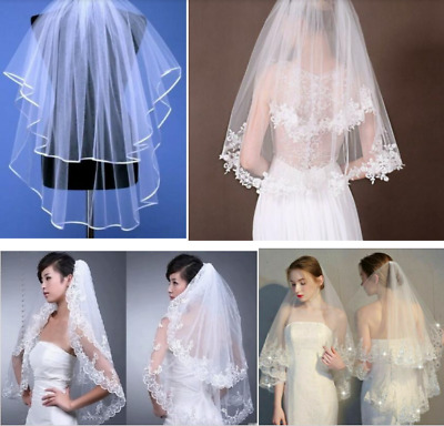 4 Style 2 Layer White/Ivory Elbow Lace Edge Wedding Bridal Veil With Comb