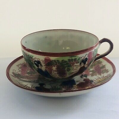 Antique Meiji Japanese hand Painted Signed porcelain Tea Cup and Saucer