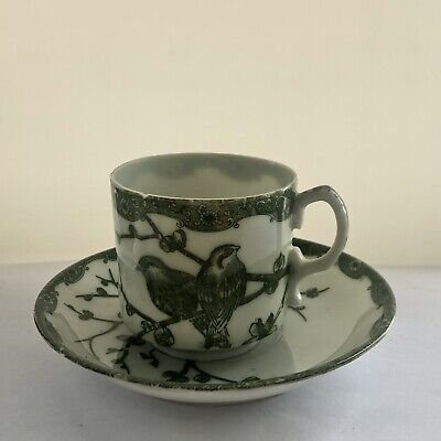 Antique early fine porcelain cup and saucer with green transferware birds
