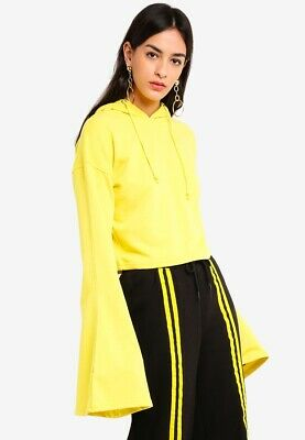 b25ae376a05 MISSGUIDED Yellow cropped flared sleeve hoodie, yellow size UK 10, 12 RRP  25.00