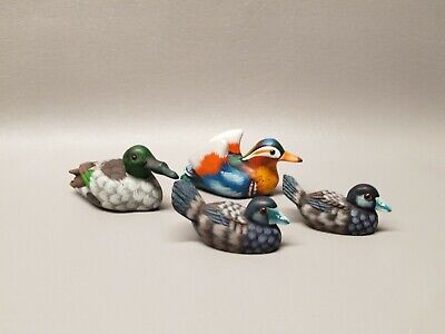 Hand Carved & painted miniature mini wooden bird figure lot of 4 Global Art wood