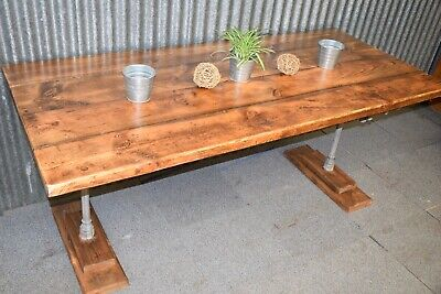 Large rustic reclaimed table Ornate Victorian Cast Iron Retail Display Garden