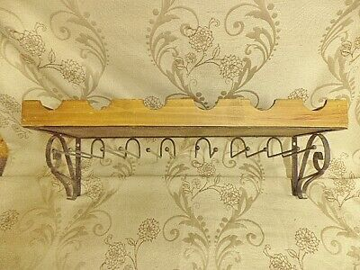 French Shabby Chic Wall Mounted  Wine Bottle And Glass Holder Rack (F)