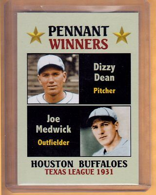 Dizzy Dean & Joe Medwick, '31 Houston Buffaloes Texas Lg. Fan Club serial # /300