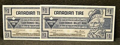 Canadian Tire Money Consecutive Pair of  $1 Notes 1998 in A/UNC Condition.