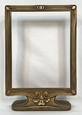 Antique Early 20th C Arts & Crafts Hand Carved Gold Standing Frame 7 x 9 Opening