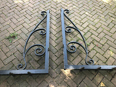 Pair of Vintage Antique Cast Iron Roof Support Brackets