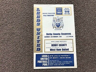 Leeds United V Derby County 1968 Reserves Central League