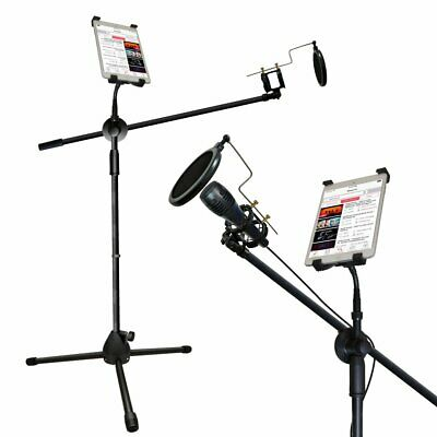 Microphone and Tablet Tripod Boom Stand Kit Adjustable Telescopic Tablet Holder