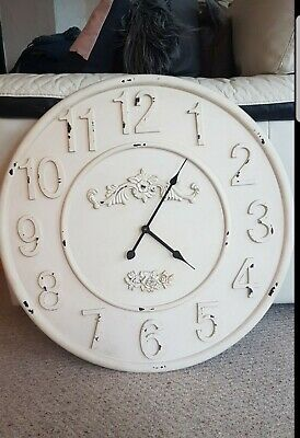 60cm Extra Large Round Wall Clock Vintage Antique Distressed Style