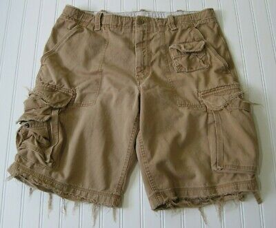 8890227e1d GAP Loose Fit Cargo Shorts Distressed Mens Size 36 Brown Tan Frayed Casual